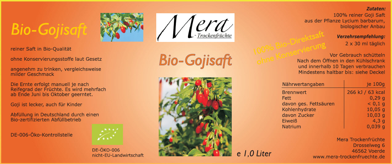 mera 1 liter bio goji direktsaft 100 direktsaft. Black Bedroom Furniture Sets. Home Design Ideas